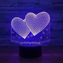 3D Nachtlicht 3D Luftballons Doppel Herzform LED