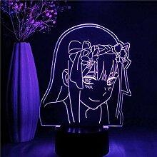 3D Nachtlicht Anime Figur Zero Two Led Lampe