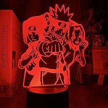 3D Nachtlicht Anime Naruto Hayato Sasuke Sakura