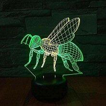3D Nachtlicht Biene LED 3D buntes Nachtlicht