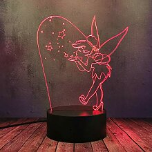 3D-Nachtlicht, Cartoon-Anime-Motiv, Tinkerbell mit