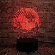 3D Nachtlicht Cloud Unicorn 3D Lampe Kawaii Kid