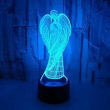3D Nachtlicht Engel 3D Illusionslampe USB 7 Arten