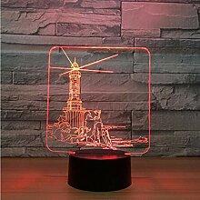 3D Nachtlicht,Fernbedienung Leuchtturm Design 3D