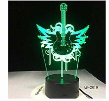 3D Nachtlicht Gitarre Fly Bass Rockmusik 3D Led