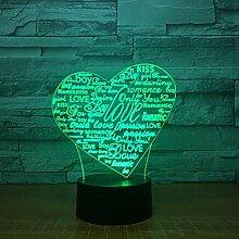 3D Nachtlicht Herz Buchstaben 3D Led Lampe 7 Farbe
