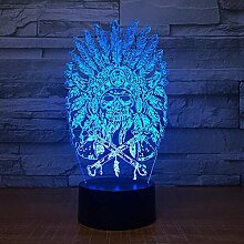 3D Nachtlicht Indian Chief 3D Lampe 7 Farbe Led