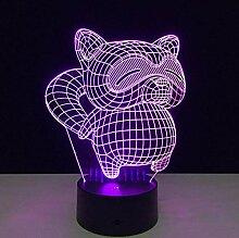 3D Nachtlicht Katze 3D Illusion Lampe Bunte