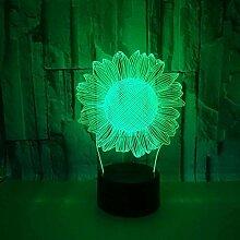 3D Nachtlicht Kinder 3D Sonnenblume Lampe Kleines