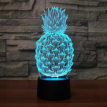 3D Nachtlicht Kunst Ananas 3D Illusionslampe LED