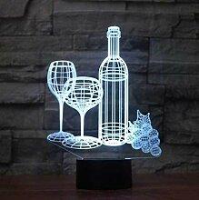 3D Nachtlicht Kunst Wein Set 3D Illusionslampe LED