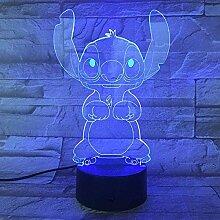 3D Nachtlicht LED Illusionslampe USB 7 Arten von