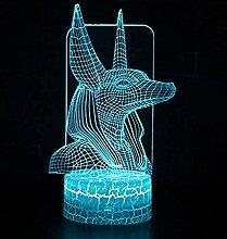 3D Nachtlicht LED Lampe Anubis Theme 7 Farbwechsel
