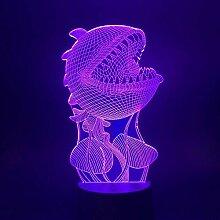 3D Nachtlicht Led Nachtlicht Mann Essen Blume