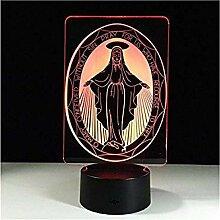 3D-Nachtlicht mit Fernbedienung 3D-Jungfrau Maria