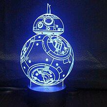 3D-Nachtlicht mit Fernbedienung Bunte 3D-Lichter