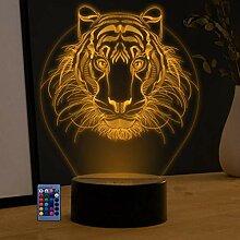 3D-Nachtlicht mit Löwen-Motiv, USB-betrieben,