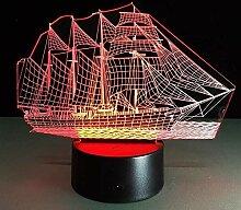 3D Nachtlicht Nachtlampe Schlaflicht Segelboot