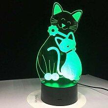 3D Nachtlicht Nette Katze LED Lampe USB 3D Lampe 7