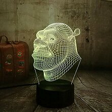 3D Nachtlicht New Shrek Lampe Led 3D Visuelle Led