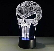 3D Nachtlicht Punisher Schädel Mehrfarbige 3D Led