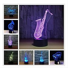 3D Nachtlicht Saxophon 7 Farbe Lampe 3D Visuelle