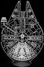 3D-Nachtlicht,Star Wars Millennium Falcon 3d Led