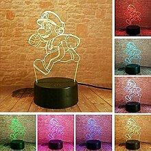 3D Nachtlicht Super Mario 7 Farben Blinken &