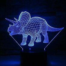 3D Nachtlicht Triceratops Dinosaurier Illusion 3D