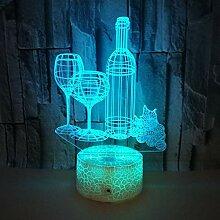 3D Nachtlichter for Kinder Weinflasche Led 3D