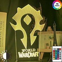 3d Nachtlichtspiel Warcraft Horde Flag Farbwechsel