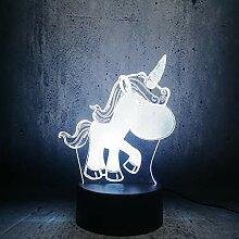 3D Nettes Einhorn Lampe LED Nachtlicht mit