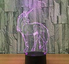 3D Optical Illusion Lampe Led Nachtlicht Einhorn 7
