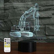 3D Optische Illusion Bagger Nachtlicht Spielzeug