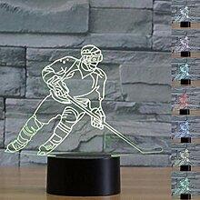 3D Optische Illusion Nachtlicht Spielen Eishockey