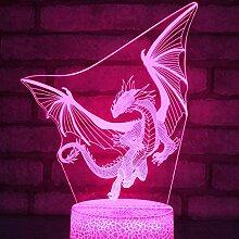 3D Optische Illusions Dinosaurier Drache Lampe 7