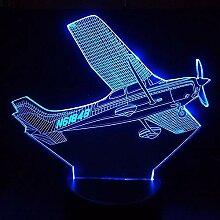 3D Optische Illusions Flugzeug Lampe 7 Farben