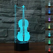 3D Optische Illusions gitarre geige Lampe 7 Farben