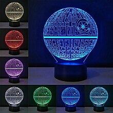 3D Optische Illusions Lampe, Star Wars 7 Farben