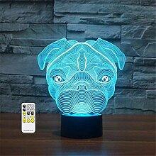 3D Optische Täuschung süßer Mops Hund