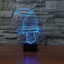 3D Papagei Lampe USB Power 7 Farben Amazing