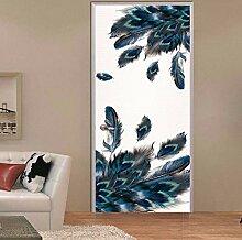 3D Pfauenfeder Tür Aufkleber Für Wohnzimmer