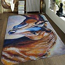 3D Pferd 62 Rutschfest Teppich Matte Raum Matte