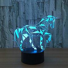 3D Pferd Optische Illusions Lampe 7 Farben