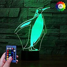 3D Pinguin Lampe USB Power 7/16 Farben