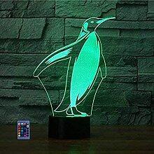3D Pinguin Lampe USB Power Fernbedienung 7/16