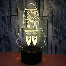 3D Rakete Lampe USB Power 7 Farben Amazing Optical