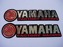 3D red / chrome YAMAHA stickers decals Aufkleber - set of 2 pieces