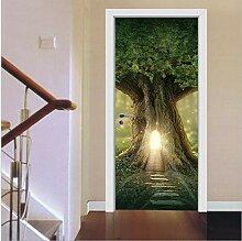 3D-Renoviert Tür Aufkleber Baumhaus Selbstklebend