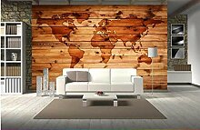3D Retro Weltkarte Tapete Wandbild mit Holz